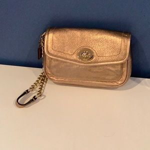 Coach gold leather wristlet with chain